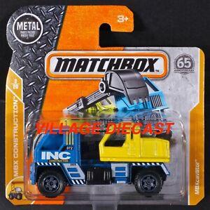 2018 Matchbox #33 MBXcavator™ BLUE / YELLOW / INC CONSTRUCTION / SHORT CARD