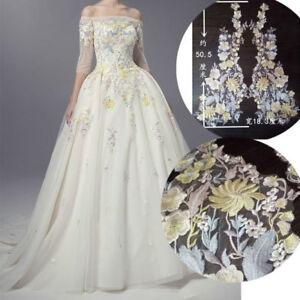 Embroidery Lace Applique Fabric Floral Wedding Dress Patch Cloth Decor DIY Trim