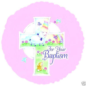 """Baptism """" For Your Baptism """" Foil/Mylar Balloons ( 3 Balloons ) 18"""" - Pink"""