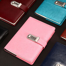 Combination Lock Journal Leather Binder Blank Diary Writing Notebook - PINK