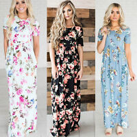 Women Floral Print Short Sleeve Boho Dress Ladies Evening Party Long Maxi Dress