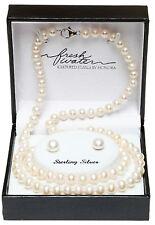 Honora Freshwater Pearl .925 Sterling Silver Necklace, Bracelet, & Earrings set