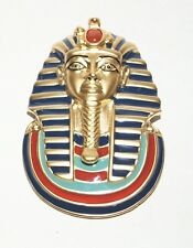 Vintage Egyptian Revival FM Pharaoh King Tut Enamel faux Carnelian Brooch