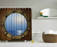 Nautical Sailboat Ocean Boat Window Scene Digital Print Graphic Shower Curtain