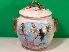 Rare Antique Majolica Lidded Sugar Bowl, Bird, Butterfly on Fan Wardle c.1870's