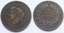 5 Centimes Cérès, 1879 A, ancre barrée, TTB et rare !!