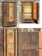Handcrafted German Vintage Antique Style Wooden Cabinet with Floral Motif