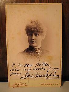 ANTIQUE LILLIAN RUSSELL SOLOMON AUTOGRAPH CABINET CARD 1884 - 1886 FALK NY PHOTO
