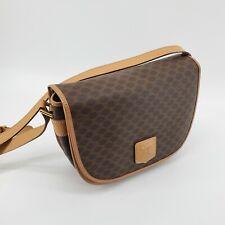 CELINE Macadam Monogram Crossbody Shoulder Bag Brown leather Vintage 55908513
