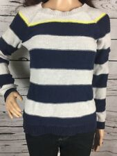 Merona Crewneck Sweater XS Navy Blue Beige Striped Casual Style Extra Small