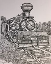 OLD LOCOMOTIVE - US, Small, Art Reproduction, Artist, Ink, Realism, Train