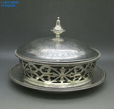 VICTORIAN GOOD LARGE SOLID STERLING SILVER BUTTER DISH & COVER 697g LONDON 1865