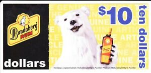 BUNDABERG RUM PROMOTIONAL $10 VOUCHER - WITH 3 LABEL BOTTLE PICTURED