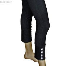 Damen Leggins mit Strass blickdicht Baumwolle Einheitsgröße schwarz-grau