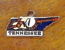 Vintage silver TENNESSEE STATE MAP NASHVILLE GUITAR BANGO ENAMEL charm RARE #P