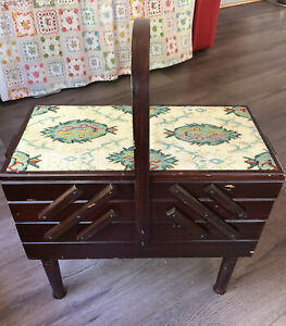 vintage sewing chest accordion fold out with tapestry top