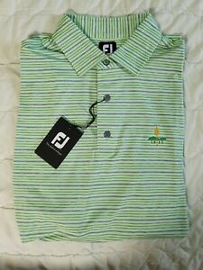1 NWT FOOTJOY MEN'S POLO, SIZE: X-LARGE, COLOR: GREEN/GRAY STRIPED (J59)