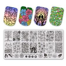 Nail Art Stamping Plate Image Decoration Fall Winter Leaf Fern Birds Flowers B64