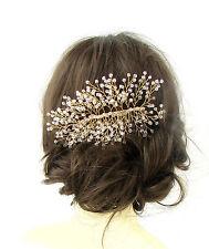 Großer Goldener Durchsichtig Perlen Schleierkraut Haarkamm Draht Rebe