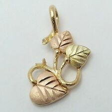 NEW 10K Tricolor Black Hills Gold Hearts Leaves Charm Pendant 2gr