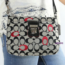 NEW Coach Poppy Signature Embroidered Swingpack Crossbody Bag 48425 Black RARE