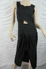 MOSSMAN black cut out duel length hem sleeveless full length dress size 6 EUC