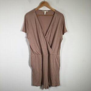 H&M womens playsuit romper size XL brown short sleeve V neck viscose