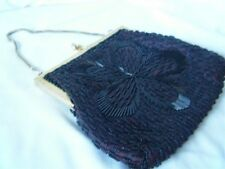 Vintage Black Beaded Evening Bag with Chain Strap Fabric Lining Lovely