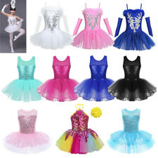 Sequins Girls Ballerina Costume Ballet Dance Dress Leotard Tutu Skirt Dancewear