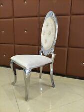 Opal Barock Chesterfield Designer Esstisch Stuhl Edelstahl Samtbeige