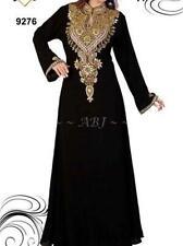 Negro Dubái Caftán Marroquí Georgette Vestido Jilbāb Árabe Ropa Ms 2020
