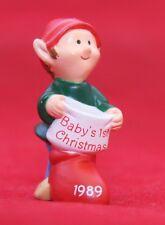 Hallmark Merry Miniatures 1989 Baby'S 1st Christmas Elf Qfm1615