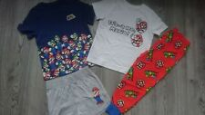 2x BUNDLE SUPER MARIO BOY PYJAMAS SET LONG SLEEVE TOP BOTTOM shorts 3/4 YRS nr4
