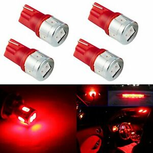 JDM ASTAR 4x Red T10 Wedge 5730 SMD 12V LED Marker Light Bulbs 194 168 2825 W5W