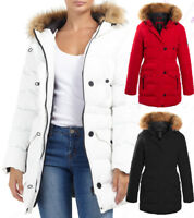 NEW Size 10 12 14 16 8 Womens PADDED PARKA COAT Ladies JACKET Fur Puffer Black