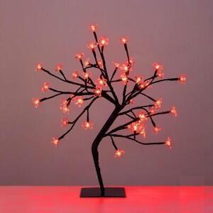 Pre lit 45cm Red LED Cherry Blossom Tree Christmas Tree Home Decoration Lighting