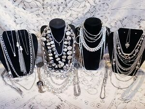 24 Piece Modern and Vintage Silvertone Mixed Necklace Lot - Monet, Silpada
