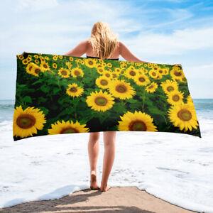 Sunflower Themed Bath or Beach Towel Yellow Flowers Floral
