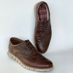 Cole Haan Zerogrand Mens Wing Tip Leather Shoes Sneakers C26323 Size 10.5 Brown