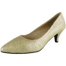 Womens Glitter Court Shoes Mid Heel Party Bridesmaid Wedding Bride Ladies Size UK 7 / EU 40 / US 9 Gold