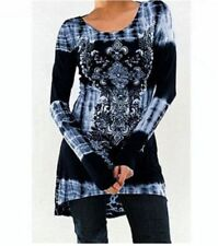 UK Women Vintage Printed Tunic Tops Plus Casual Loose Tops Blouse Shirt T-Shirt