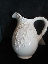 2007 Blue Sky Clayworks Seashell Embossed Distressed White Pitcher NEW