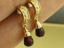 E010 - Lovely SOLID 9ct Gold NATURAL Garnet Briolette Earrings Half Hoop Drops