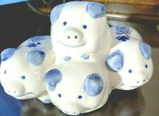 Delft Vintage Piggy Bank Hand Painted Four Pigs Stacked