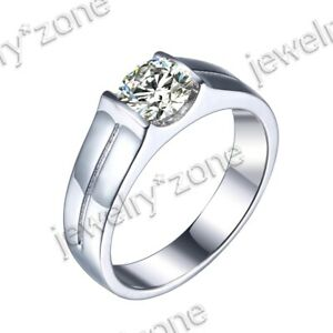 Men's Jewellery Sterling Silver 925 Cubic Zirconia Wedding Ring Prong Setting