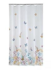 Mainstrays Shower Curtain White Blue Pink Butterflies Floral Bath Bathroom Cute