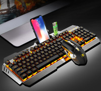 Wireless Keyboard and Mouse LED Backlit Rechargeable with Rechargeable