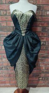 Original Vintage 1980s Black Taffeta Prom Dress Gothic Court Style size 6/8