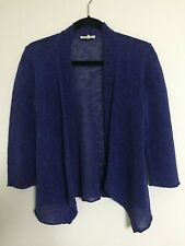 Eileen Fisher Blue Open Front Cardigan Sweater PM PETITE 3/4 Sleeve Linen Cotton