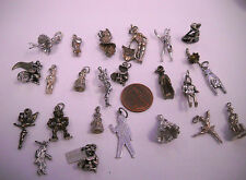 VINTAGE STERLING SILVER Figures of people  ETC MIXED LOT 24 CHARMS